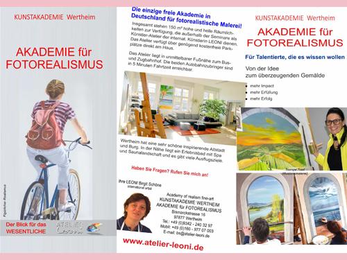 Broschüre Atelier Leoni, Kunstakademie Wertheim, Akademie für Fotorealismus