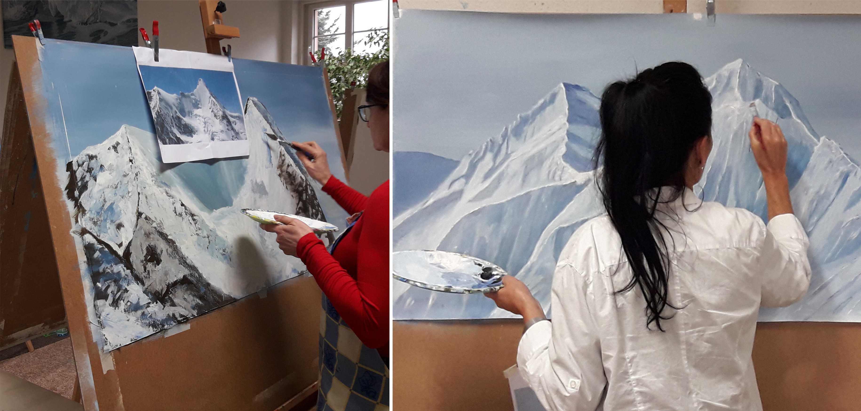 Kurs Wintergebirge für Künstler, Kunstakademie Wertheim, Akademie für Fotorealismus, Atelier Leoni