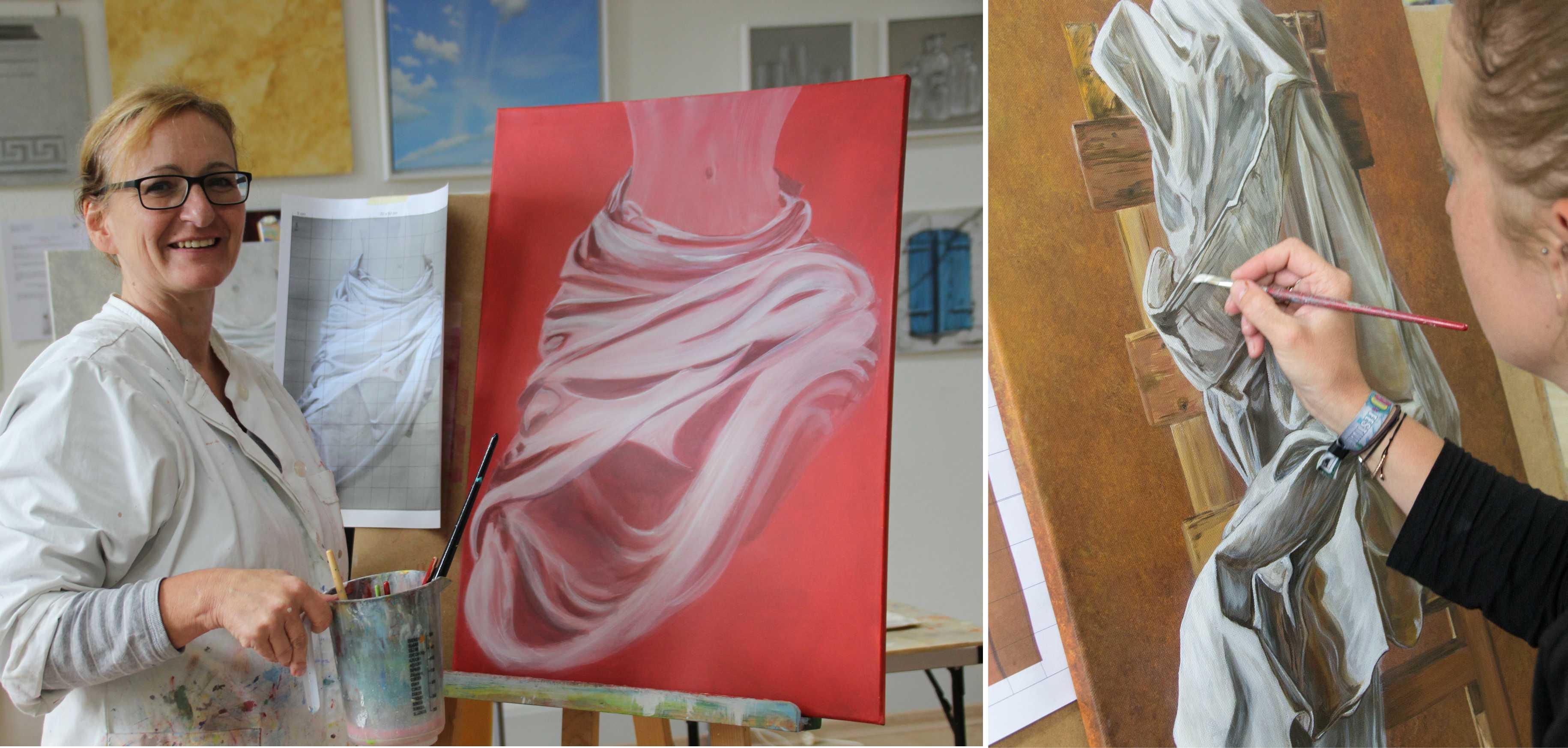 Kurs Faltenwurf / Draperie für Künstler, Kunstakademie Wertheim, Akademie für Fotorealismus, Atelier Leoni